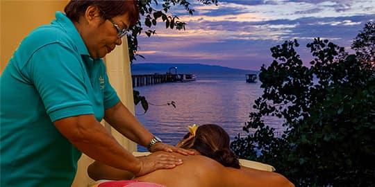 A relaxing sunset massage