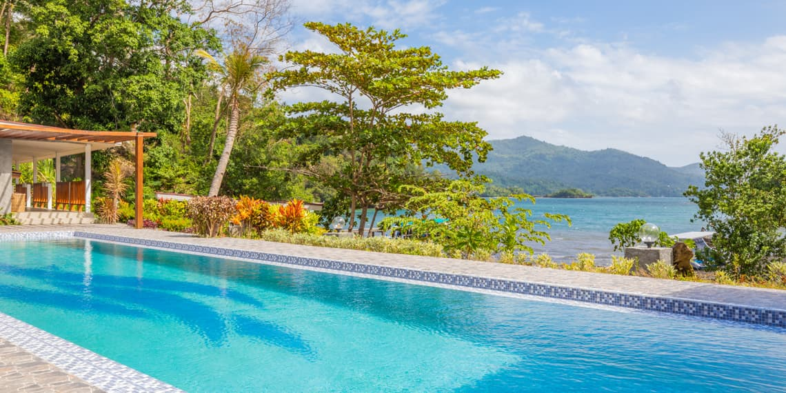 Thalassa Lembeh - view from the pool onto the Lembeh Strait