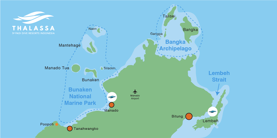 Map with North Sulawesi's diving area