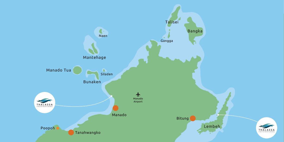Onze resorts bevinden zich aan beide kusten van Noord Sulawesi