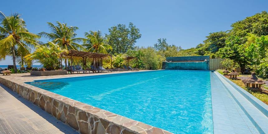 An empty swimming pool…